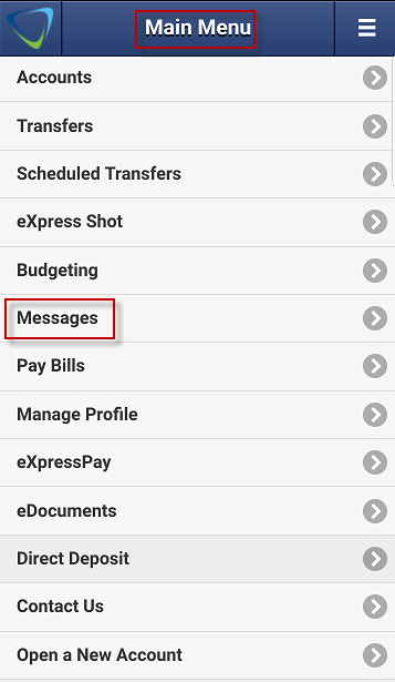 Screen capture displays where to select Messages in mobile app main menu.