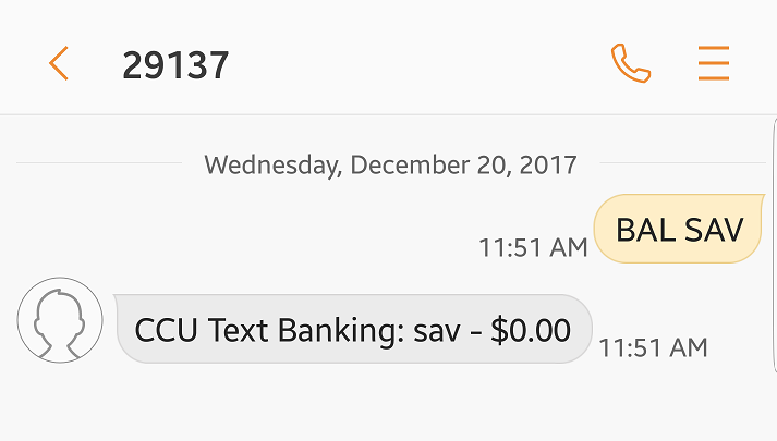 Image showing text message reply with the balance for your savings account nicknamed SAV