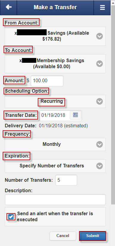 Screen capture highlights account options to set up recurring transfer