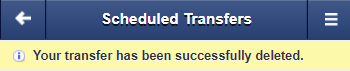 Screen capture shows alert stating your transfer was successfully deleted.