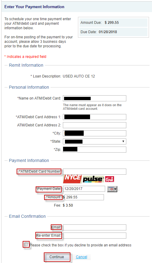 Screen capture displays how to make a Payment with a pinless Visa or Mastercard Debit Card.