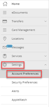 Screen capture displays image highlighting area to select settings and account preferences