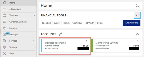 Screen capture highlighting area showing updated nickname on the accounts menu